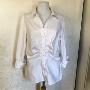 Lafayette 148 NY White Ruched Front Blouse